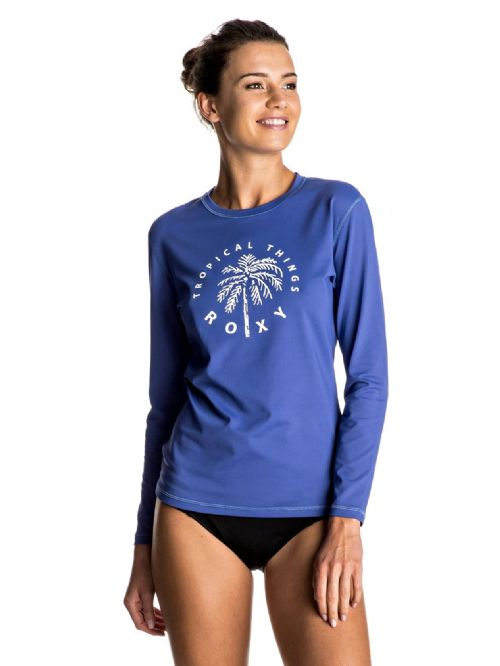 ROXY WOMENS RASH VEST.PALMS AWAY BLUE LONG SLEEVED UPF50 T SHIRT TOP 7S 133 PQF0